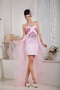 2014 Baby Pink Sweetheart High-low Ruched Organza Prom Dress with Beading