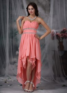 Chic Sweetheart Layered High-low Watermelon Ruched Prom Dress with Beading