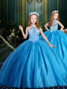 Halter Top Sleeveless High School Pageant Dress Floor Length Beading and Sequins Baby Blue Tulle