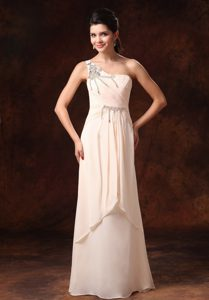 Champagne Stylish One Shoulder Empire Petite Holiday Dress