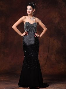 Black Beaded and Appliqued Plus Size Holiday Dress on Sale