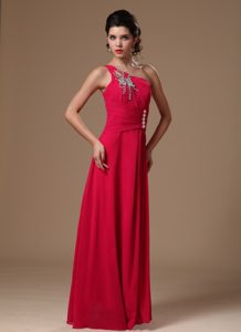 Fitted Coral Red One Shoulder Holiday Dresses for Women with Beading