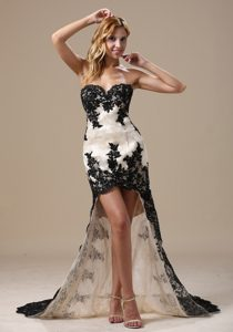 Sweetheart Black and White High-low Holiday Dress for Women in Lace
