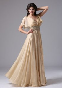 New Champagne V-neck Womens Holiday Dress with Beading and Ruche