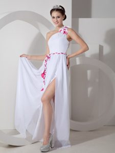 Custom Made White Chiffon One Shoulder Petite Holiday Dresses with Sash