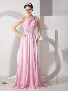 Pink One Shoulder Chiffon Plus Size Holiday Dress with Beading and Ruche