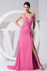 New High Slit One Shoulder Beaded Holiday Dress for Women in Hot Pink