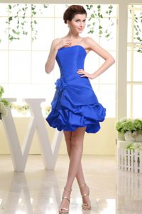 Strapless Royal Blue Holiday Wear Dress with Handle Flower and Pick-ups