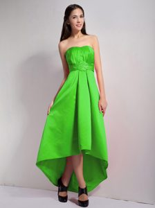 Lovely Spring Green Strapless Appliqued High-low Holiday Dress Patterns