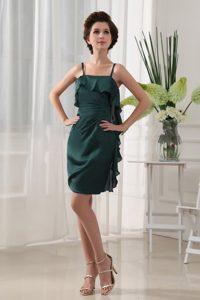 Green Mini-length Chiffon Straps Short Womens Holiday Dress with Ruffles