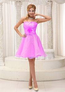 Hand Made Flower Beaded Ruching Pink Strapless Organza Prom Holiday Dresses