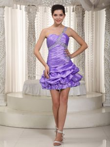 Pick-ups One Shoulder Lavender Beading Holiday Dresses for Christmas