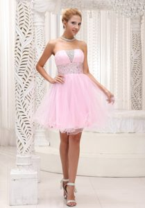 Lovely Strapless Layered Organza Beading Baby Pink Valentine Holiday Dresses