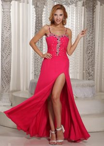 High Slit Spaghetti Straps Coral Red Beading Chiffon New Holiday Party Dresses