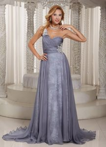 Appliques Printing Gray One Shoulder Ruched Chiffon 2015 Trendy Holiday Dresses
