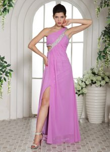 High Slit Lavender One Shoulder Ruched Beading Women Office Holiday Party Dress