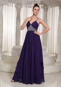Spaghetti Straps Beaded Purple Layered Chiffon Discount Homecoming Holiday Dress