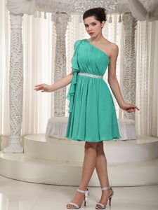 Turquoise Beading One Shoulder Chiffon Ruched Short Valentine Holiday Dresses