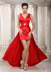 Cheap V-neck High-low Elastic Wove Satin Beading Red Fall Holiday Party Dress