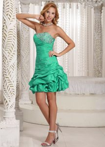 Pick-ups Strapless Beaded Green Ruching Short Cocktail Holiday Dresses