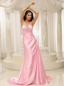 Halter Beading Rose Pink Ruched Brush Train Most Popular Spring Holiday Dress