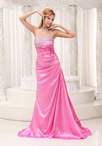 Pink Beaded Ruched Bowknot Holiday Homecoming Dresses with Brush Train