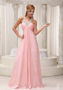V-neck Baby Pink Chiffon Beaded Brush Train Classical Vegas Holiday Party Dress