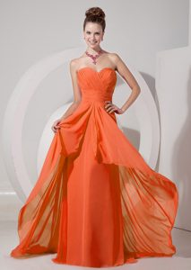 Cheap Orange Red Ruched Chiffon Sweetheart Brush Train Trendy Holiday Dresses