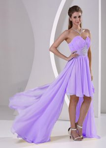 High-low Beaded Lavender Ruched Chiffon Detachable Teenagers Holiday Dresses
