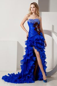 Ruffles Organza Royal Blue Sweetheart Beaded Court Train Halloween Holiday Suit