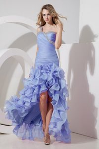 Ruffled Layers One Shoulder High-low Beading Lilac Ruched Cheap Holiday Dresses