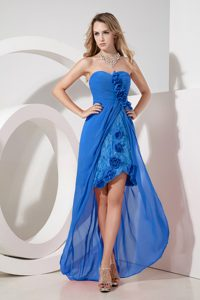 Embroidery Lace Aqua Blue High-low Chiffon Holiday Prom Dress
