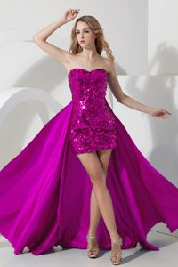 Detachable Fuchsia Mini-length Flowy Holiday Dress with Sequin over the Skirt