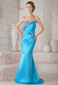Strapless Brush Beading Accent Floating Turquoise Holiday Dresses Trumpet Design