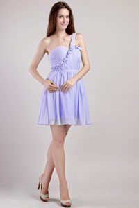 Empire One Shoulder for Mini-length Chiffon Stunning Holiday Dress in Lavender