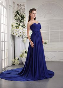 One Shoulder Brush Train Chiffon Ruched Empire High End Holiday Dress in Blue