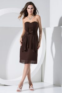 Brown Chiffon Unique Sweetheart Short Holiday Dress with Bowknot and Pocket