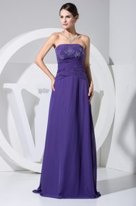 Strapless Purple the New Arrival Holiday Dresses with Beading and Ruche Accent