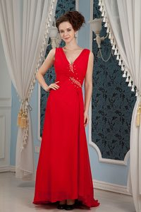 V-neck Beading Chiffon Cheap Red Holiday Dresses with Brush Train