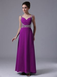 Beaded Purple Classical Homecoming Dress for College with Straps under 150