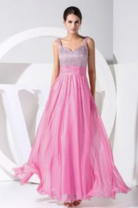 Exquisite Ruched and Beaded Ankle-length Homecoming Dance Dress for Fall