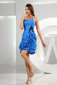 Sweet Ruffled Blue Short Homecoming Princess Dress with Pick-ups