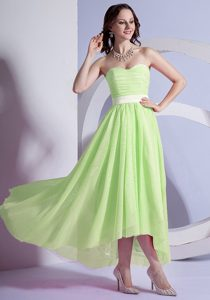 Yellow Green Chiffon High-low Fashionable Homecoming Dresses with Ruches