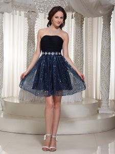 Memorable Strapless Beaded Zipper-up Middle School Homecoming Dresses