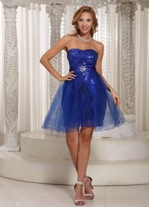 Elegant Zipper-up Designer Homecoming Dress in Peacock Blue with Sequins