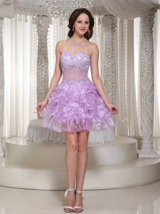 Special Sweetheart Lavender Organza Short Homecoming Dress with Beading