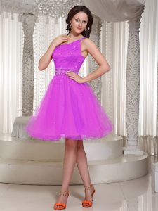 Fashionable Lace-up Beaded Knee-length Homecoming Cocktail Dress in Pink