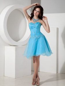 Unique Sweetheart Organza Beaded Evening Homecoming Dress in Baby Blue