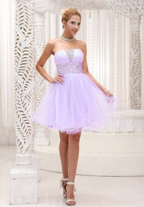 Popular Lavender Strapless Zipper-up Short Homecoming Dress with Beading