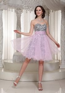 Sweetheart Zebra Exquisite Baby Pink University Homecoming Dress for Fall